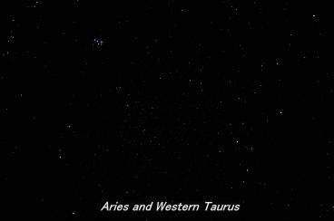 Photograph of the constellation Aries, the Ram and the Western part of Taurus,The Bull (click for full-size photo)