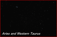 Photograph showing the constellation of Aries and the Western region of Taurus. Click for a full-size photo (Copyright Martin J Powell, 2011)