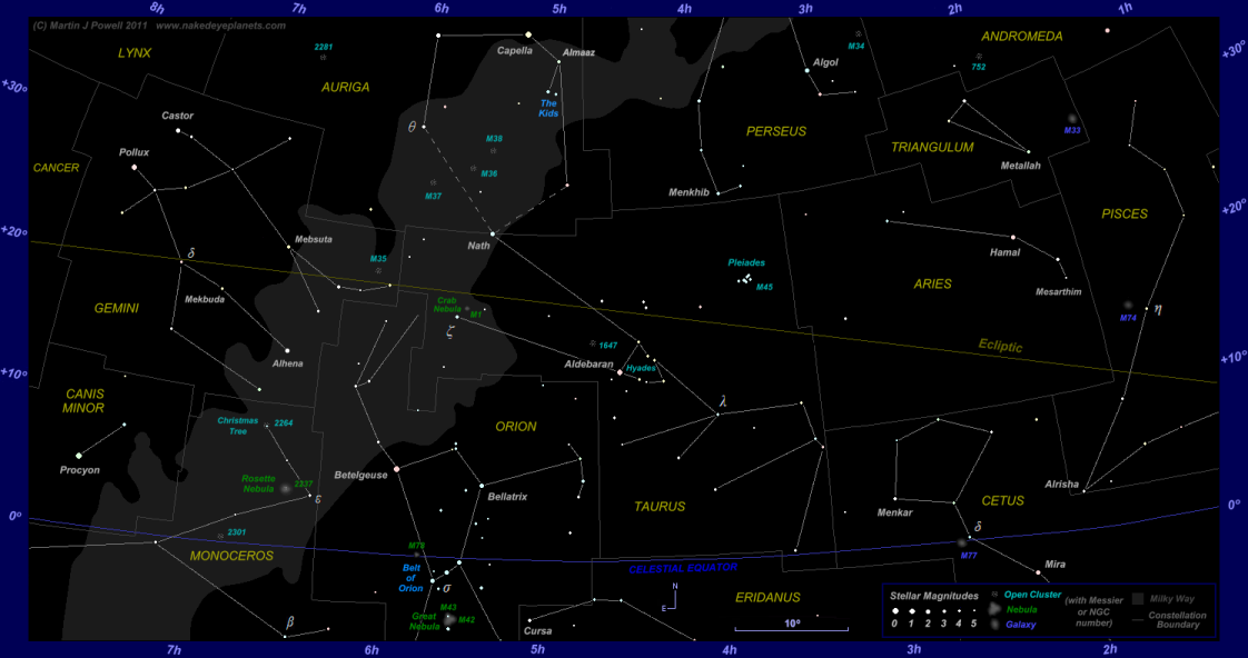Star map showing the zodiac constellations Aries, Taurus and Gemini plus surrounding constellations (click for full-size star map)