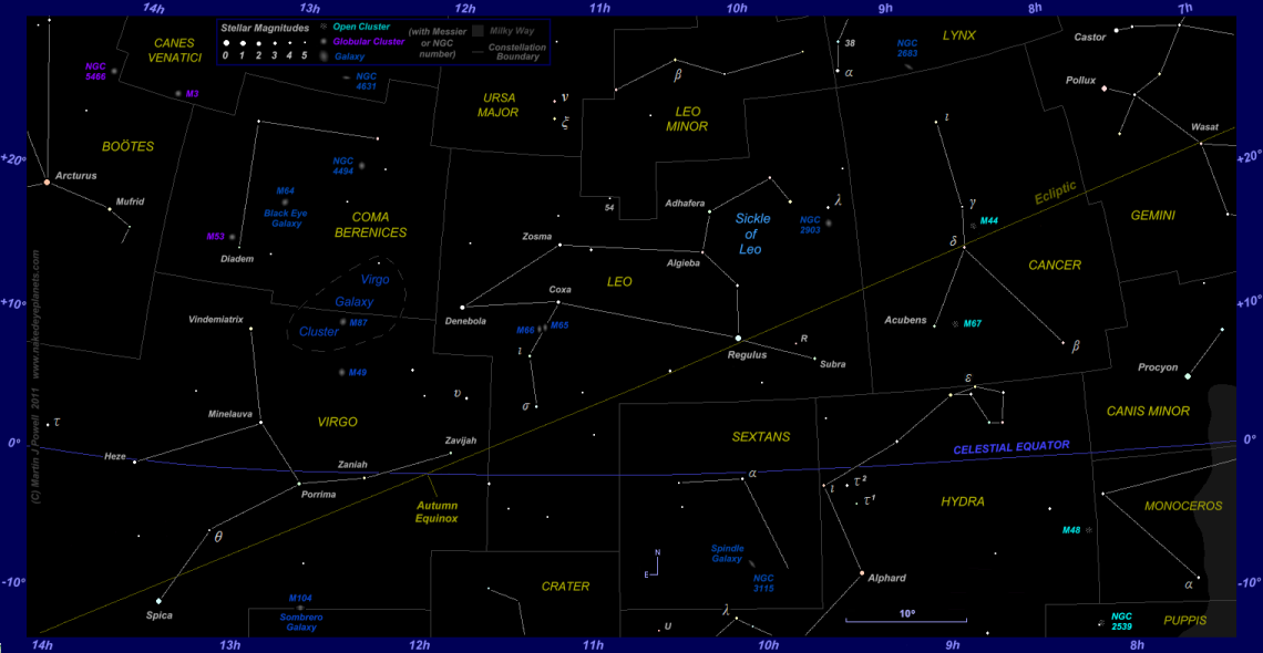 Star map showing the zodiac constellations Cancer, Leo and Virgo plus surrounding constellations (click for full-size star map)