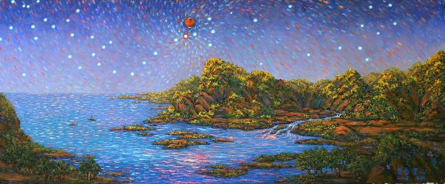 'Conjunction of Mars and Antares' oil painting by Luo Fangyang (Image: Luo Fangyang/CloudyNights.com)