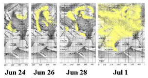 Sketch showing the emergence of a dust storm in 2001, drawn by Richard J McKim (click for full-size version)