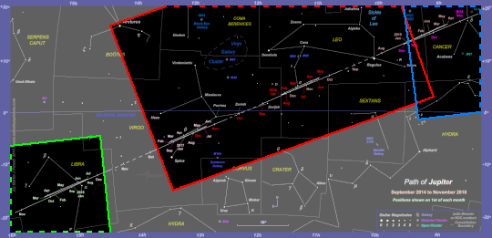 Chart showing the areas of the 2014-18 star chart which are covered by the photographs. Dashed lines indicate that the photograph extends beyond the boundary of the star chart