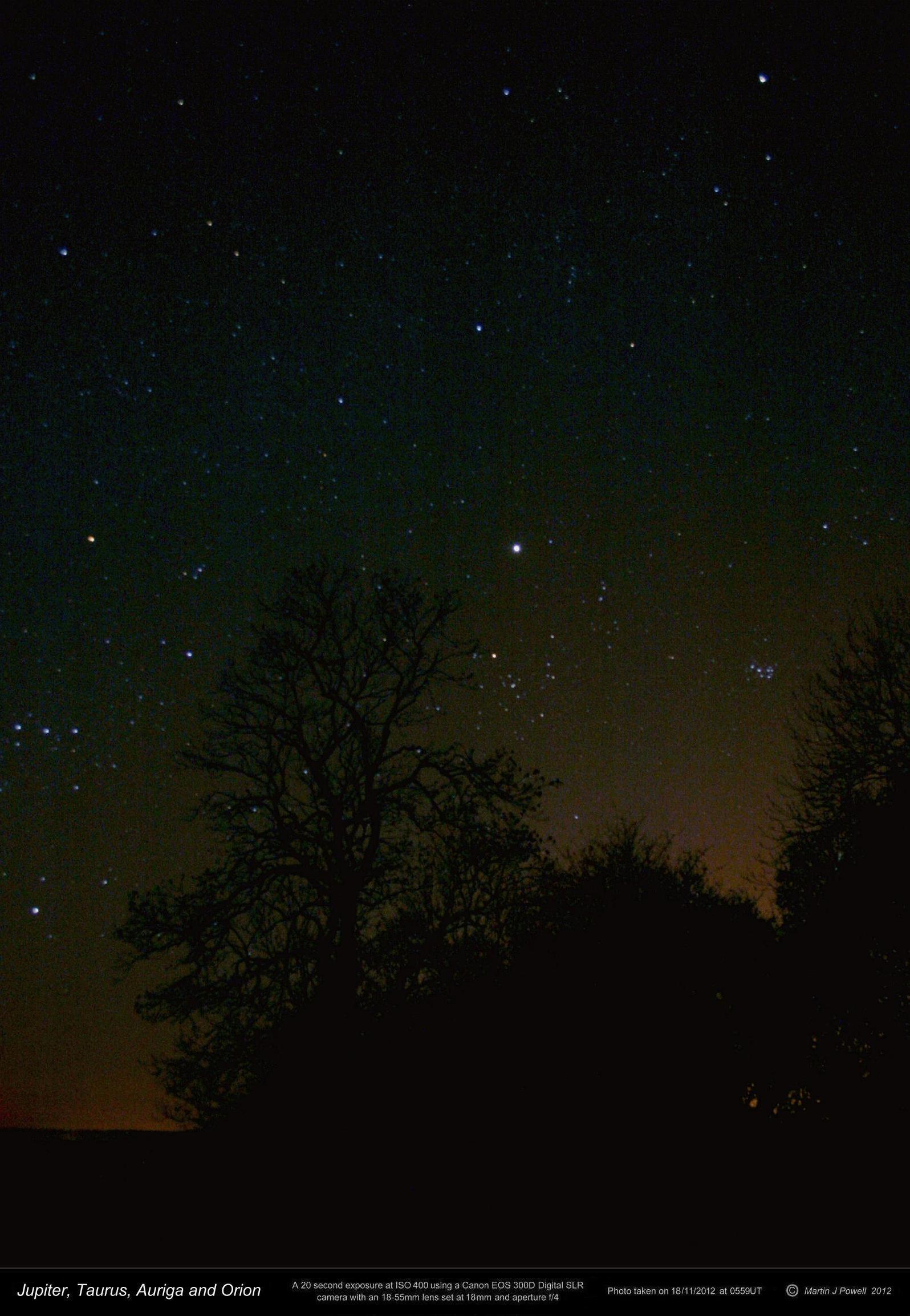 Jupiter in central taurus in november 2012 copyright martin j powell 2012