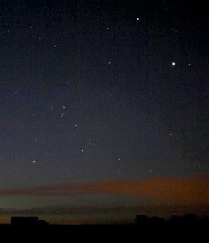 Jupiter shone in the constellation of Libra on 29th January 2006. Scorpius is to the lower left, dominated by its brightest star, the orange-red Antares. Other selected stars are also labelled (click for full-screen photo)