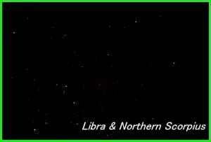 Photograph showing the constellation of Libra, the Balance and the Northern region of Scorpius, the Scorpion. Click for a full-size photo (Copyright Martin J Powell, 2006)