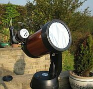 A telescope fitted with a Baader solar filter. Click for larger image, 13 KB (Image: Arthur Dent/'Sky at Night' Magazine)