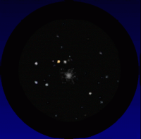 A simulated telescope view of Mars passing the globular cluster NGC 6638 on October 8th 2016. South is up and East to the right; the field of view is about 25 arcminutes. Click for full-size animation, 94 KB (Copyright Martin J Powell, 2015)