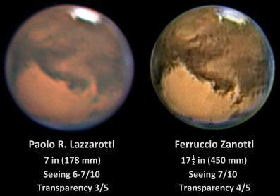 The planet Mars imaged by Paolo R Lazzarotti (left) and Ferruccio Zanotti (right) in August 2003 (Images: Paolo R Lazzarotti/Ferruccio Zanotti /ALPO-Japan)