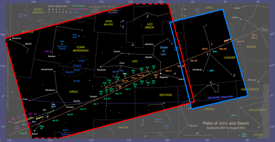 Chart showing the areas of the 2011-12 star chart which are covered by the photographs. Dashed lines indicate that the photograph extends beyond the boundary of the star chart