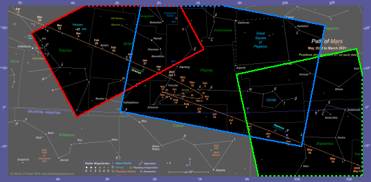 Chart showing the areas of the 2020-21 star chart which are covered by the photographs. Dashed lines indicate that the photograph extends beyond the boundary of the star chart