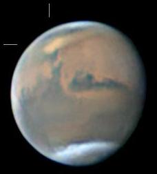A Martian dust storm over the Mare Acidalium in the planet's Northern hemisphere, imaged by John Boudreau in May 2018 (Image: John Boudreau /ALPO-Japan)