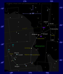 Star map of Scorpius, showing the five stars formally assigned new names by the IAU in 2017 and 2018 (click for full-size image)