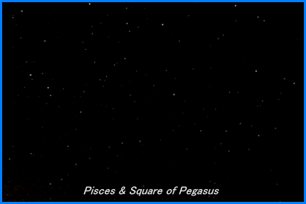 Photograph showing the constellations of Pisces, Aries, Triangulum and the Great Square of Pegasus. Click for full-size photo (Copyright Martin J Powell, 2005)