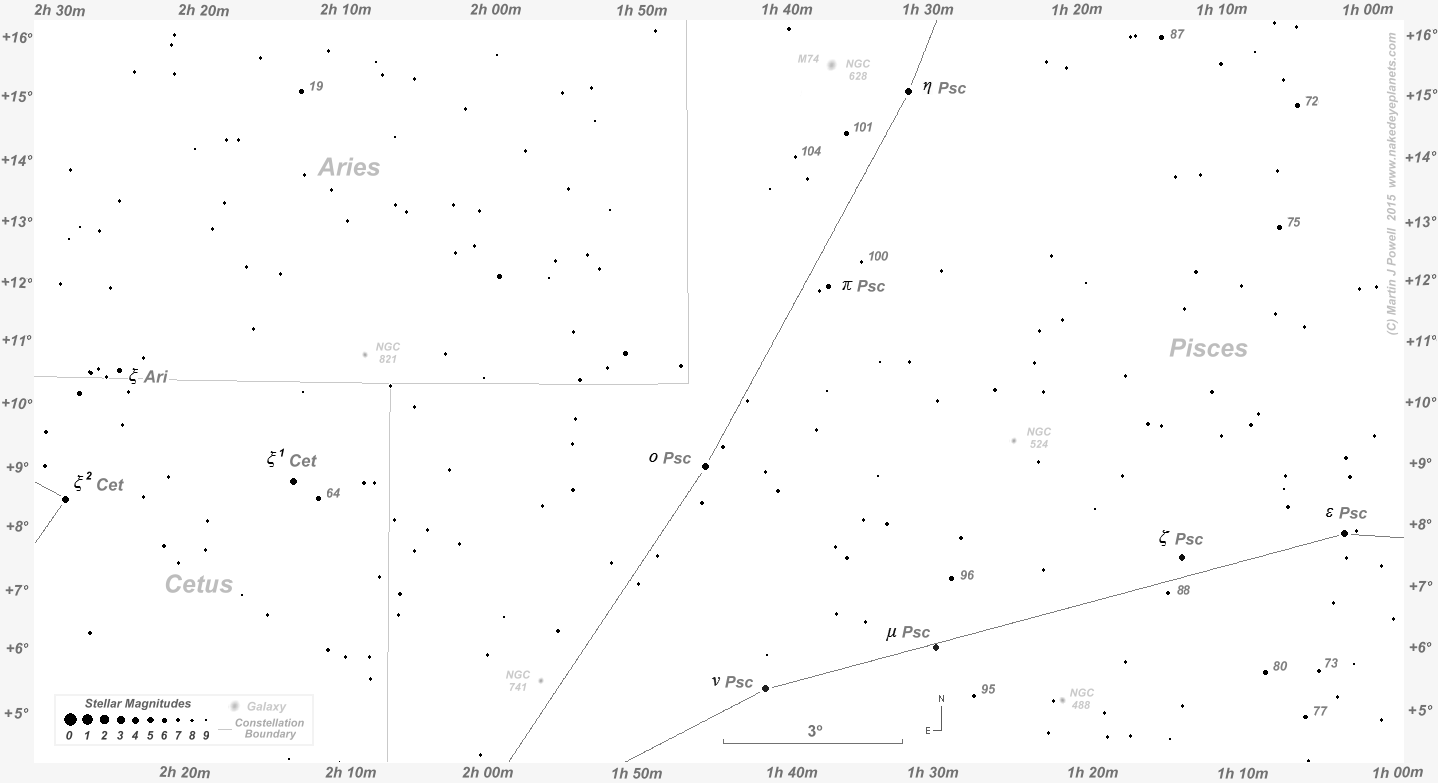 The Position Of Uranus In The Night Sky To - Printable star map