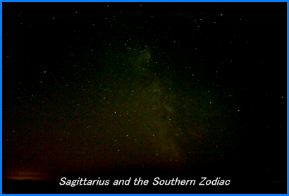 Photograph showing the constellation of Sagittarius and other constellations in the vicinity of the Southern zodiac. Click for a full-size photo (Copyright Martin J Powell, 2005)