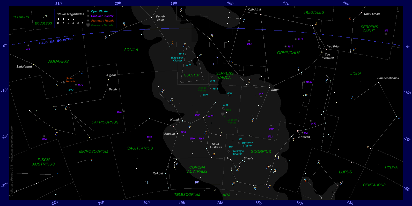 The Position Of Saturn In The Night Sky To - Map of all planets