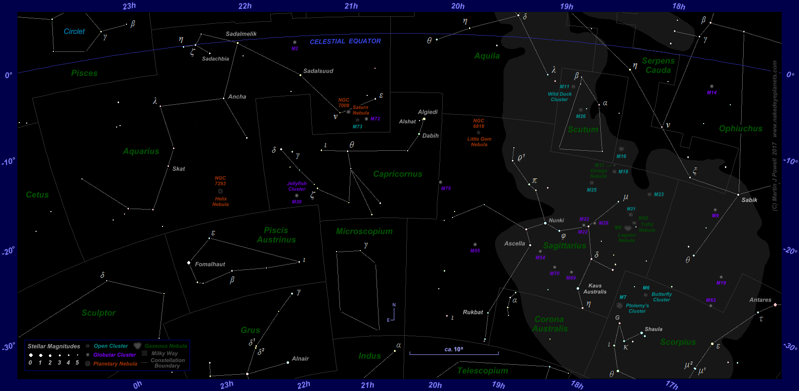Sky Star Map.The Position Of Mars In The Night Sky 2017 To 2019