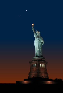 Simulation of a conjunction between Venus and Jupiter on March 15th 2012, seen over Liberty Island, New York City (based on a photograph by 'Lars0001' at Panoramio.com)