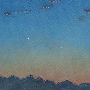 'Conjunction of Venus and Mercury � 18 January 2015': a painting by Oli Froom (Image: Oli Froom/ASOD)