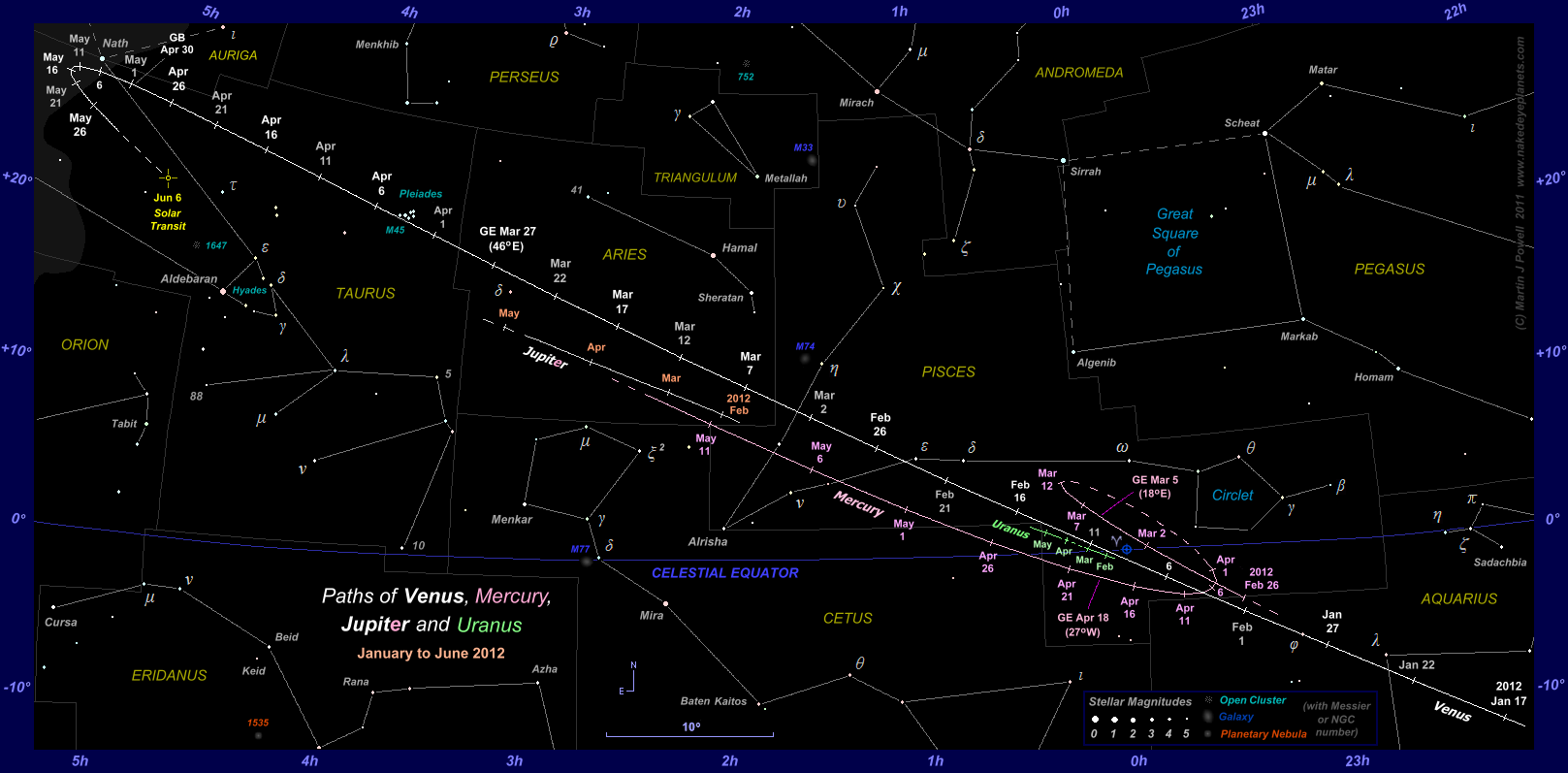 Star chart showing the paths of Venus, Mercury, Jupiter and Uranus through Aquarius, Pisces, Aries and Taurus from mid-January to early June 2012 (Copyright Martin J Powell 2011)