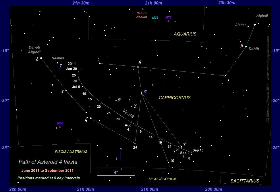 Finder chart for minor planet 4 Vesta during its period of naked-eye visibility in Capricornus between June and September 2011 (Copyright Martin J Powell 2011)